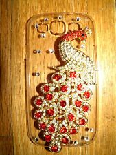 SAMSUNG GALAXY S3 BACK COVER/CASE 3D PEACOCK WITH RED & SILVER STONES NEW