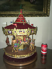"""RARE """"LARGE"""" HOLIDAY CREATIONS RED VELVET CAROUSEL MUSICAL ANIMATED 21"""" TALL !!!"""