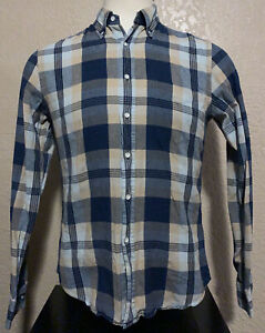Gant Rugger The Hugger Men's Medium Blue Plaid Indigo Oxford Long Sleeve Shirt M