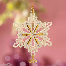 Lenox 2004 Annual China Snowflake Ornament 24k Set with Crystal Jewels Nib w/Coa