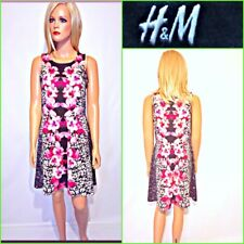 H&M SIZE L MULTICOLOR STRETCH SLEEEVELSS FLORAL PRINT SKATER DRESS #B3117