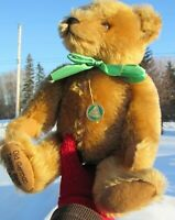 "VINTAGE TEDDY BEAR HERMANN 15"" BLONDE MOHAIR  W GREEN CIRCLE TAG OLD GERMAN CUTE"