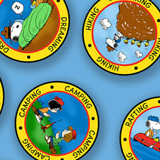 Peanut Snoopy Camp Badges Blue 100% cotton fabric by the yard