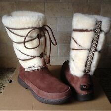 UGG MAXIE CHOCOLATE WATER-PROOF SUEDE SHEEPSKIN BOOTS US 11 WOMENS 1013000