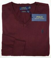 Orig $98 Polo Ralph Lauren Pima Cotton Long Sleeve Red Sweater Mens M NEW V Neck