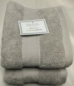 NWT HOTEL MADE IN GREEN 2 HEATHER GRAY COTTON HAND TOWEL