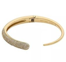 Michael Kors Gold Tone Asymmetrical Hinge Cuff Pave Bracelet MKJ4025 NWT $125