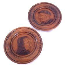 Assiettes en bois sculpté - Décorées main - P. Nouguès / Saint-Pé-de-Bigorre