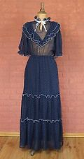Vintage Dress Gown 80s Retro Evening Wedding Party Victorian Style Boho UK 10