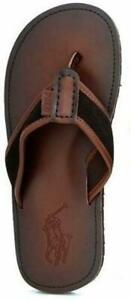 NWT POLO Ralph Lauren SULLIVAN FLIP FLOPS Sandals BROWN / DARK BROWN Mens 9-13