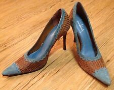 Luichiny Stiletto Heels Blue Brown Suede Leather Snakeskin 7 1/2 Animal Print