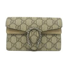 Auth Gucci Dionysus GG Supreme Super Mini Bag Beige Shoulder Bag Suede
