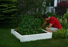 Decorative Vinyl Garden Hudson Raised Flower Vegetable Planter Box Pot Bed