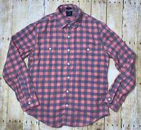 Men's J Crew Large Pink Blue Plaid Flannel Slim Long Sleeve Button Down Shirt