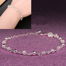 925 Sterling Silver Ball Crystal Bangle Cuff Charm Beads Bracelet Chain Jewelry