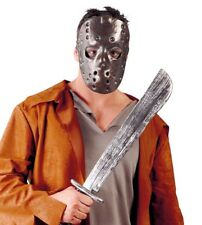 Mens Hockey Mask and Machete Friday 13th Jason Halloween Fancy Dress Costume NEW