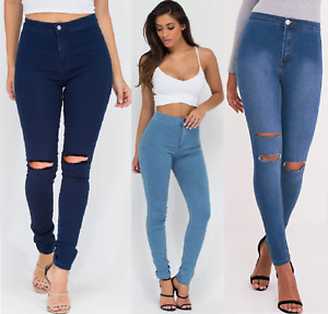 WOMENS HIGH WAISTED SKINNY RIPPED KNEE JEANS JEGGING NAVY LEGGINGS BLUE LADIES