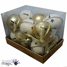 Gisela Graham Box Of 12 Metal Cream Gold Jingle Bell Christmas Tree Decorations