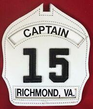 Richmond VA Fire Dept. ENGINE CO 15 CAPTAIN Leather Fire Helmet Front Shield