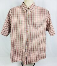 Wrangler 100% Cotton Short Sleeve Button Up  1 Pocket Red/Brown/White Size Large