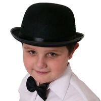 CHILDRENS FELT BLACK BOWLER HAT FANCY DRESS PARTY BOY GIRL TOP HAT KIDS COSTUME