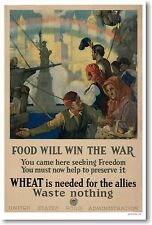 Food Will Win the War - Waste Nothing - NEW Vintage WWI POSTER