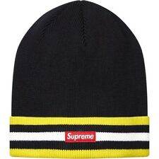 SUPREME Striped Cuff Beanie Black Box Logo camp safari garçon S/S 14
