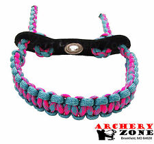 Turquoise and CottonCandy  Bow Paracord Wrist Sling Strap Archery W/ Leather