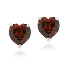 Sterling Silver 3ct TGW Created Ruby Heart Stud Earrings, 7mm