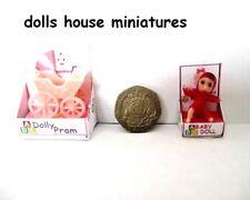 BOXED  baby doll and pram  SET  DOLLS HOUSE ITEM