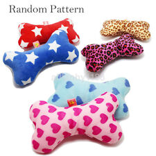 Fashion Pillow Plush Bone Pet Dog Cat Puppy Chewing Squeaky Squeaker Playing Toy