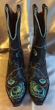 5M~USED ONCE~OLD GRINGO 5M BLACK FLORAL BOOTS~ship free