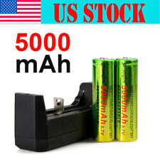 2PCS 18650 Rechargeable BRC 3.7V Li-ion Battery 5000mah+ Recharge Charger USA WT