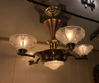Ezan Atelier Petitot, Sabino 1930's Art Deco Chandelier, Copper Machine Age