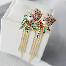Earrings Nails Enamel Panthere Leopard Brown Fringe Fine Green Red L6