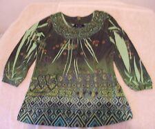 BLEU Size S Green Tan Black Floral Knit Top, 3/4 sleeves, rhinestones & studs