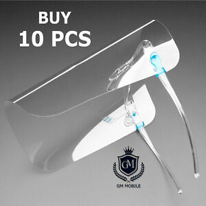 10x FACE COVERING ANTI-FOG SHIELD CLEAR GLASSES SAFETY PROTECTION MASK VISOR UK