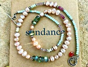 "NEW Sundance 20"" Pearl Opal Labradorite Larimar Sterling Silver Beaded Necklace"