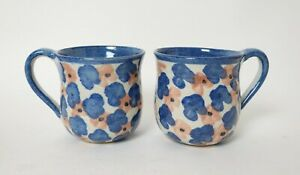 Two studio pottery mugs - pink and blue flowers (#1)