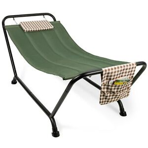 Best Choice Products Outdoor Patio Hammock Bed with Stand, Pillow Storage Pocket