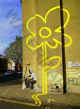 Banksy Yellow Lines Flower Painter Graffiti Large Poster Art Print Lf3742