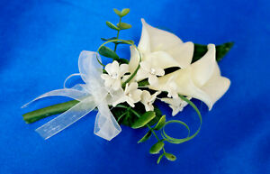 Calla Lily real touch Diamante Ladies Corsage, Groom, Wedding Guest