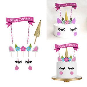 UK Unicorn Glitter Cake Topper Happy Birthday Candle Party Supplies Decor DIY
