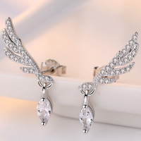 Womens Angel Wing Earrings Sterling Silver Plated Studs Stud Crystal Jewellery