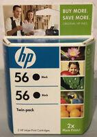 Original NEW HP #56 Twin-Pack Black Ink Cartridges GENUINE Sealed Box Exp. 2009