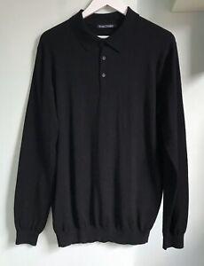 "WOOLOVERS Mens 100% Merino Wool Black Knitted Polo Shirt L 41-43"" Long Slvs"
