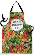 Personalised Splashproof Novelty Apron Vegetables Cooking Painting Art Add Logo