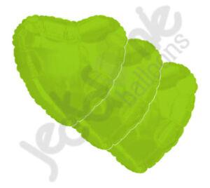 "3 pc 18"" Solid Lime Green Heart Balloon Wedding Baby Bridal Shower Birthday Luau"