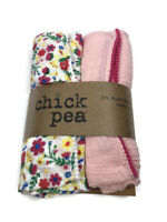 Chick Pea Baby Girl 2 Pack Muslin Cotton Swaddle Blankets ~ Floral & Solid