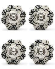 4 Pcs Flower Ceramic Knobs Door Handle Cabinet Drawer Cabinet Pull Black White